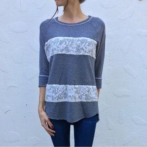 Anthropologie 3/4 Sleeve Lace Embellished Shirt
